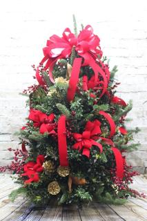 3ft Handcrafted Boxwood & Fir Mixed Tree w/Ornaments