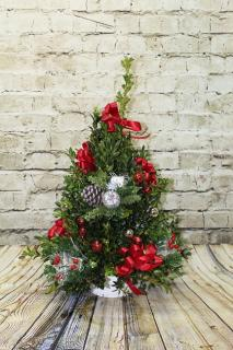 20in Handcrafted Boxwood Tree w/Christmas Ornaments